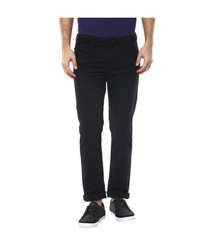 Solid Flat Front Chinos, 36,  black