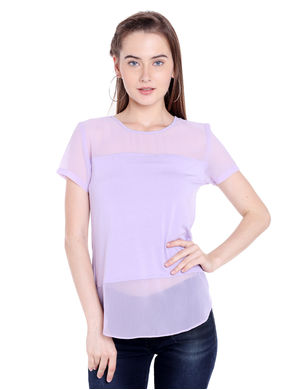 Solid Round Neck T-Shirt, s,  lilac