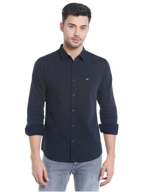 Print Cut Away Slim Fit Shirt,  navy, m