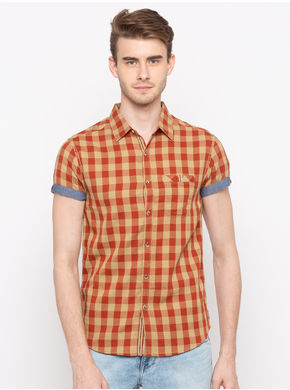 Spykar Regular Slim Fit Shirts, xl,  rust