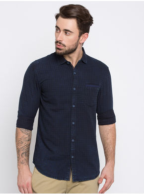 Spykar Checks Slim Fit Shirts,  indigo, l
