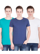 American-Elm Men's Pack Of 3 Round Neck T-Shirts- Blue, Turq, White, s