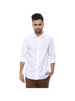 Solid Cut Away Slim Fit Shirt,  white, m