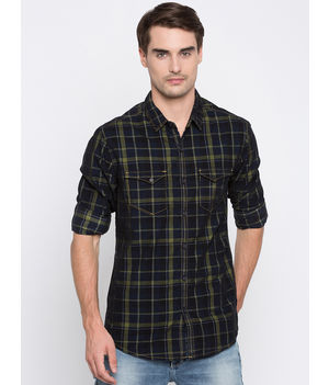 Spykar Checked Slim Fit Shirts, m,  green/navy