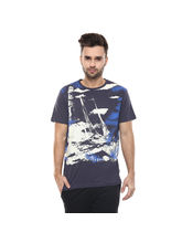 Graphic Round Neck Print T-Shirt, s, charcoal
