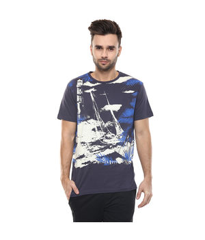 Graphic Round Neck Print T-Shirt, m,  charcoal