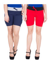 American-Elm Women's Hot Shorts (Pack Of 2) Blue, Red, xxl
