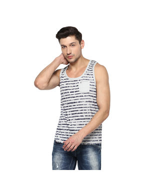 Printed Round Neck Vest T-Shirt,  grey, m
