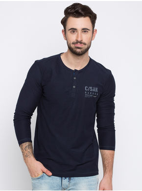 Spykar Solid Slim Fit T-Shirts,  navy, xl