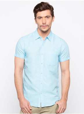 Spykar Regular Collar Solids Slim Fit Shirts, xl,  aqua