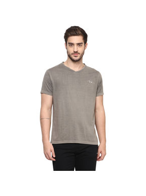 Solid V Neck T-Shirt,  grey, s