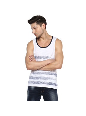 Printed Round Neck Vest T-Shirt,  white, m