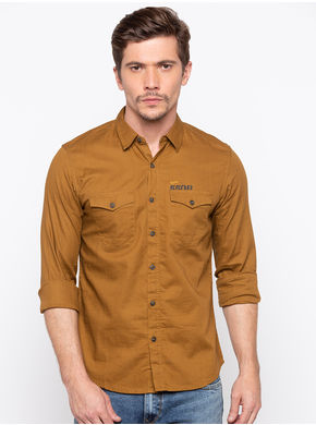 Spykar Regular Slim Fit Shirts, l,  khaki