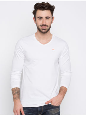 Solid Slim V-Neck T-Shirts, xl,  white