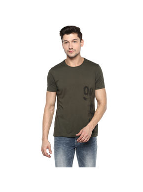 Solid Round Neck T-Shirt, m,  olive