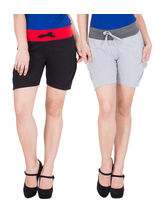 American-Elm Women's Cotton Hot Shorts (Pack Of 2) Black, Grey, m