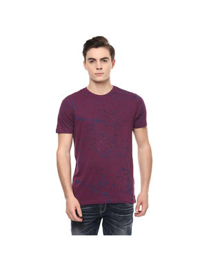 Printed Round Neck T-Shirt, s,  purple