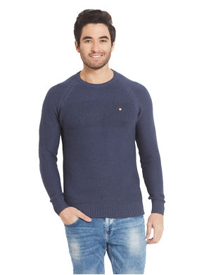Solid Round Neck T-Shirt, s,  blue