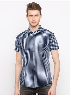Spykar Regular Collar Checks Slim Fit Shirts, l,  indigo
