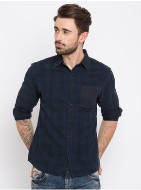 Spykar Checks Slim Fit Shirts,  indigo, xl