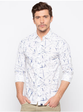 Spykar Regular Collar Prints Slim Fit Shirts,  white, m