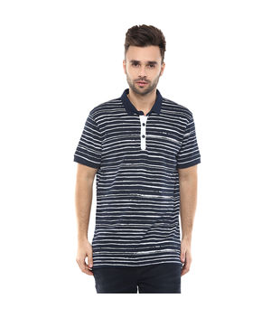Printed Polo T-Shirt, s,  navy