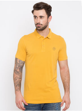 Spykar Solid Polo Collar Slim Fit T-Shirts, l,  yellow