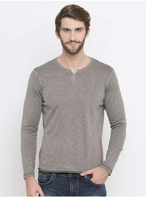 Spykar Dyed Slim Round Neck Fit T-Shirts, l,  grey