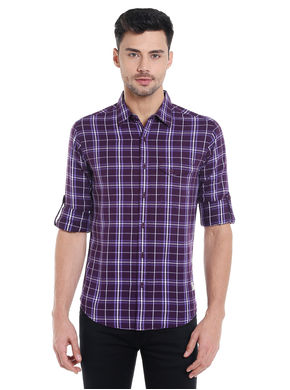 Spykar Checks Cut Away Slim Fit Shirt, xl,  purple