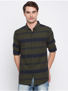 Spykar Stripes Slim Fit Shirts,  olive, m