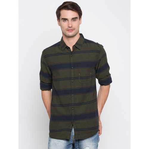 Spykar Stripes Slim Fit Shirts