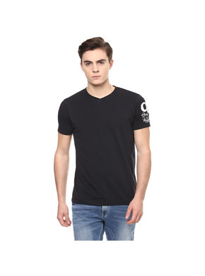 Solid V Neck T-Shirt, l,  black