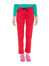 American-Elm Women's Red Cotton Slim Fit Trackpant, m