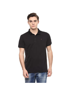 Solid Polo Slim Fit T-Shirt,  black, xl