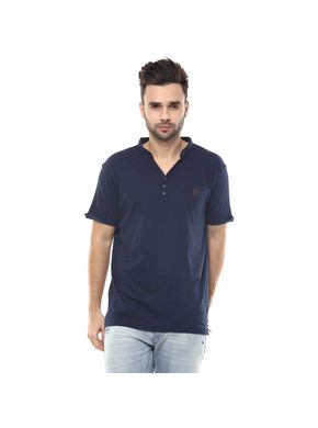 Solid Stand Collar T-Shirt,  navy, s