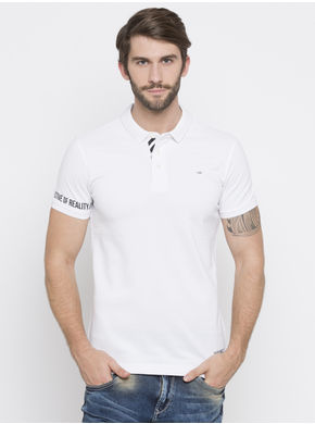 Solid Slim Polo Fit T-Shirts, m,  white