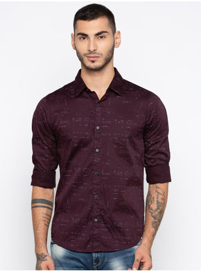 Spykar Printed Slim Fit Shirts, xl,  wine