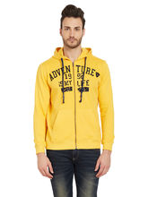 Solid Hooded Zipper, yellow, l