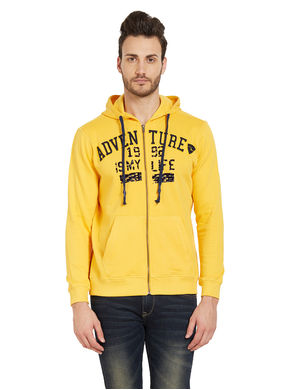 Solid Hooded Zipper, m,  yellow