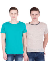 American-Elm Men's Pack Of 2 Round Neck T-Shirts- Turq, Beige, s