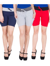 American-Elm Women's Cotton Shorts (Pack Of 3) Blue, Grey, Red, xxl