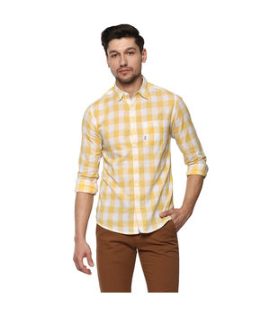 Checks Regular Shirt, 2xl,  yellow