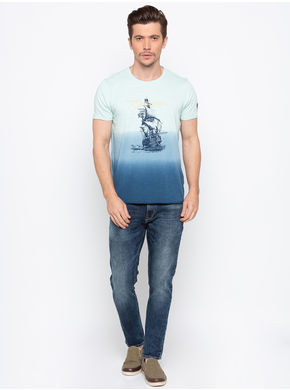 Spykar Round Neck Slim Fit T-Shirts,  powder blue, m