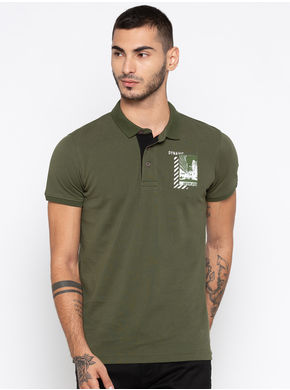 Spykar Solid Slim Fit T-Shirts,  green, xl