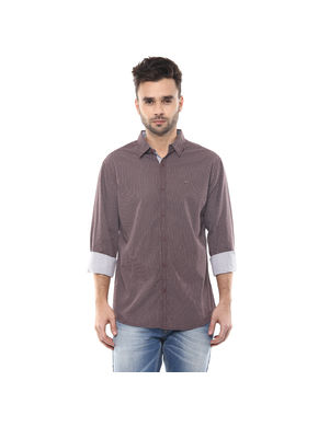 Spykar Printed Regular Shirt, m,  brown