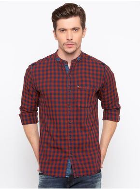 Spykar Mandarin Collar Slim Fit Shirt, l,  indigo