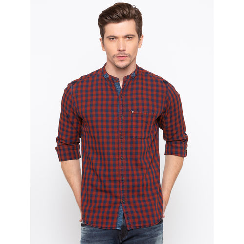 Spykar Mandarin Collar Slim Fit Shirt