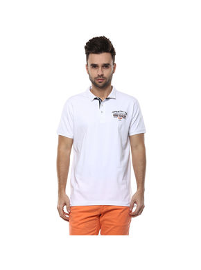 Solid Polo T-Shirt,  white, xl