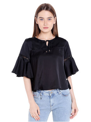 Solid Round Neck With Key Hole Top, m,  black
