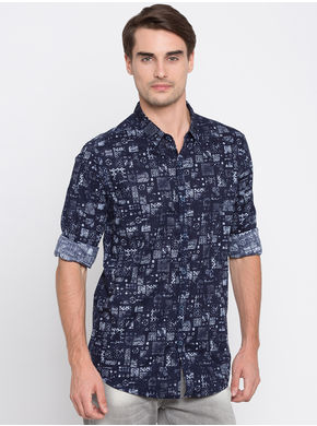 Spykar Printed Slim Fit Shirts,  navy, l